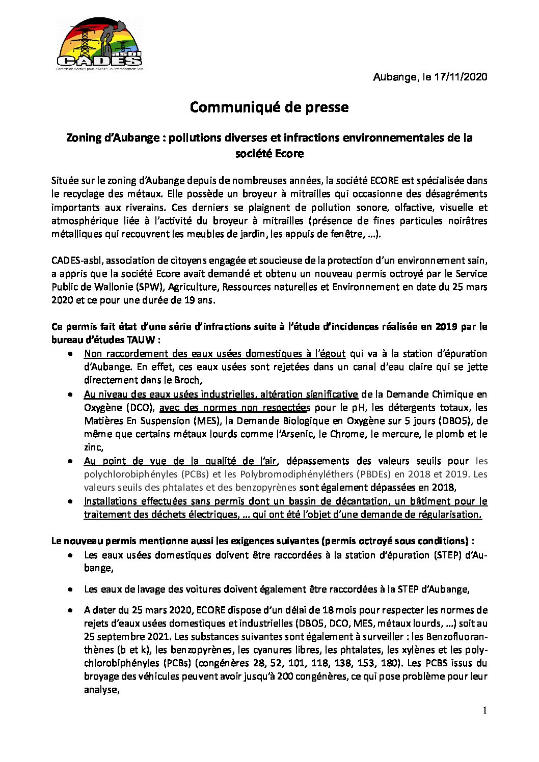 Pollution du zoning d'Aubange : Cades réagit